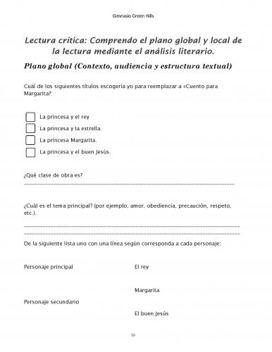 Plan lector en español con actividades de lectura crítica